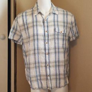 Lucky Brand Plaid Linen Short Sleeve Shirt